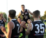 Chris Kingsford is chaired off after his 100th game for Ivanhoe Amateurs. Pic: Phil Skeggs.