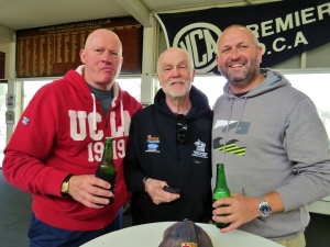 Ron Tucker (centre) with Dave Reilly and Matt Ebbage at the last home game at Ivanhoe Park in April 2016. Pic: Phil Skeggs
