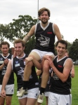 'Bazza' Conley chaired off after his 200th club game