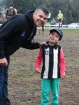 Ivanhoe Amateurs president Luke Blackwood with his son