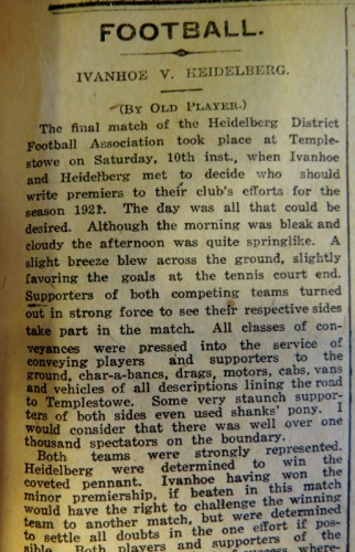 Match report of the 1921 GF win in Heidelberg News. Photo courtesy State Library of Victoria and Phil Skeggs