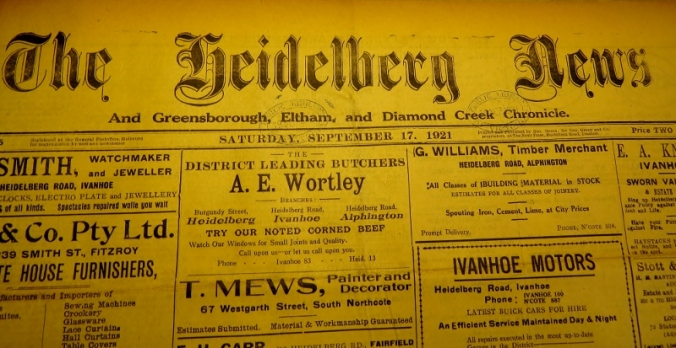 The banner of the Heidelberg News. Photo courtesy State Library of Victoria and Phil Skeggs