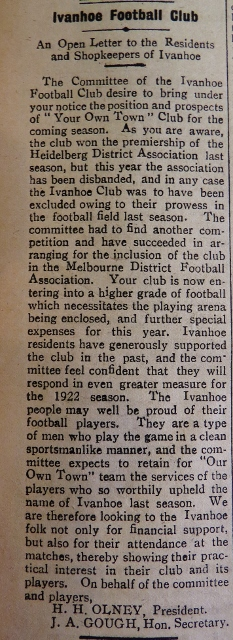 The IFC committee's open letter of April 22, 1922 announcing that Ivanhoe would join a new league. Photo courtesy State Library of Victoria and Phil Skeggs