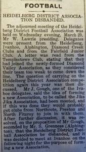 The story in Heidelberg News announcing disbandment of the HDFA in late March 1922. Photo courtesy State Library of Victoria and Phil Skeggs