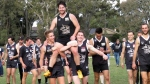Glenn Francis chaired off after his 100th Senior game in Round 3. Pic: Phil Skeggs
