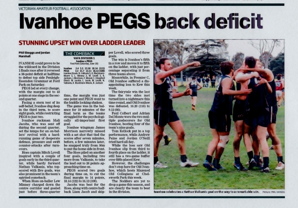 The Heidelberg Leader on a remarkable comeback win, 21 June 2016