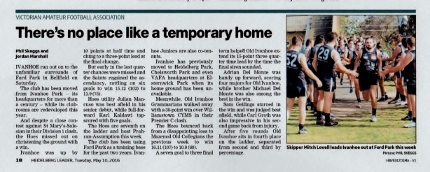 Heidelberg Leader, 10 May 2016 noting our temporary home at Ford Park.
