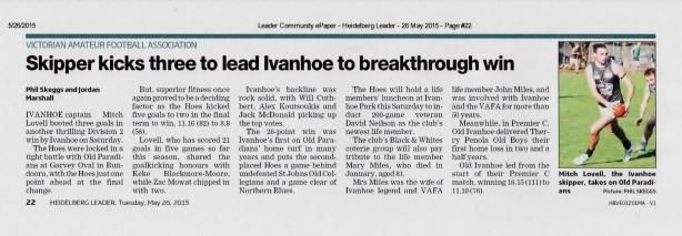 Making headlines in the Heidelberg Leader, 26 May 2015.