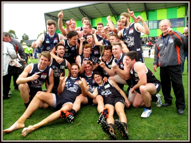 The Reserves celebrate the Premiership. Pic: Phil Skeggs