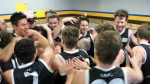 Ivanhoe Seniors celebrate their Semi-final win and gaining promotion to Division 1 for 2016. Pic: Phil Skeggs