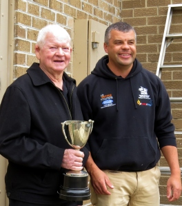 John Miles and club President Luke Blackwood with the 2014 Under 19s Premiership Cup. Pic: Phil Skeggs