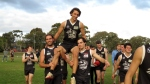 Lachie Roberts gets chaired off after his 100th game for the club. Pic: Phil Skeggs