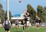 Max Post flies for a mark during the Under 19s GF. Pic: Phil Skeggs