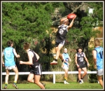 Midfielder Lachie Roberts plucks one of several towering grabs against St Johns. Pic; Phil Skeggs