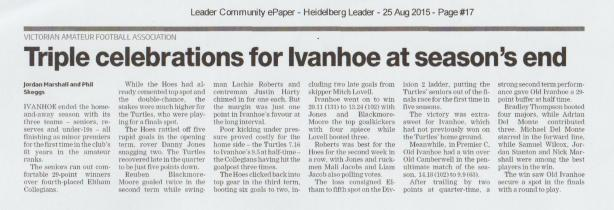 Three minor premierships as seen in the Heidelberg Leader