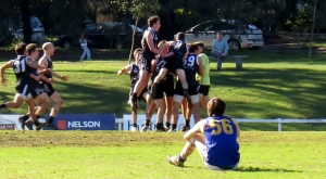 The Under 19s celebrate a goal on the siren by Reilly Connell